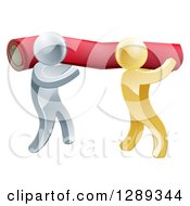 Clipart Of 3d Silver And Gold Carpet Installers Carrying A Red Roll Royalty Free Vector Illustration