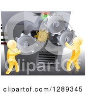 Clipart Of 3d Gold Men Adjusting Gear Cogs On A Machine Royalty Free Vector Illustration