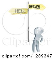Clipart Of A 3d Silver Man Looking Up At Heaven Or Hell Arrow Cross Roads Signs Royalty Free Vector Illustration by AtStockIllustration