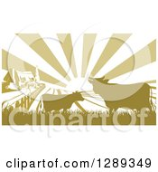 Clipart Of A Sunrise Over A Green Silhouetted Farm House With Cows And Fields Royalty Free Vector Illustration