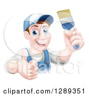 Clipart Of A Happy Middle Aged Brunette Caucasian Male House Painter Holding A Brush And A Thumb Up Royalty Free Vector Illustration