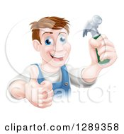 Clipart Of A Happy Middle Aged Brunette Caucasian Worker Man Holding A Hammer And Thumb Up Royalty Free Vector Illustration