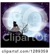 Clipart Of A Full Moon Behind A Haunted House And Bare Trees On A Hill Royalty Free Vector Illustration