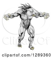 Clipart Of A Muscular Fierce Horse Man Mascot With Claws Royalty Free Vector Illustration