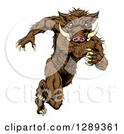 Clipart Of A Sprinting Muscular Boar Man Royalty Free Vector Illustration by AtStockIllustration