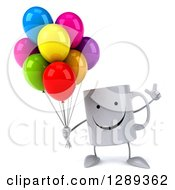Clipart Of A 3d Happy Coffee Mug Holding Up A Finger And Party Balloons Royalty Free Illustration