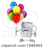 Clipart Of A 3d Unhappy Coffee Mug Holding Party Balloons Royalty Free Illustration