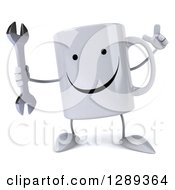 Clipart Of A 3d Happy Coffee Mug Holding Up A Finger And A Wrench Royalty Free Illustration