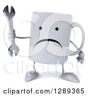 Clipart Of A 3d Unhappy Coffee Mug Holding A Wrench Royalty Free Illustration
