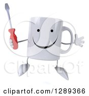 Clipart Of A 3d Happy Coffee Mug Jumping And Holding A Screwdriver Royalty Free Illustration