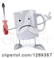 Clipart Of A 3d Unhappy Coffee Mug Holding Up A Finger And A Screwdriver Royalty Free Illustration