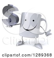 Clipart Of A 3d Happy Coffee Mug Shrugging And Holding A Dollar Currency Symbol Royalty Free Illustration