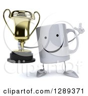 Clipart Of A 3d Happy Coffee Mug Holding A Trophy And A Finger Up Royalty Free Illustration