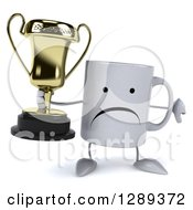 Clipart Of A 3d Unhappy Coffee Mug Holding A Trophy And A Thumb Down Royalty Free Illustration