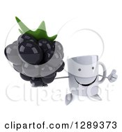 Clipart Of A 3d Happy Coffee Mug Holding Up A Thumb And A Blackberry Royalty Free Illustration