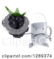 Clipart Of A 3d Unhappy Coffee Mug Holding Up A Blackberry Royalty Free Illustration