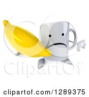 Clipart Of A 3d Unhappy Coffee Mug Holding Up A Banana And Thumb Down Royalty Free Illustration