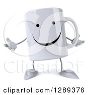 Clipart Of A 3d Happy Coffee Mug Shrugging Royalty Free Illustration