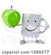 Clipart Of A 3d Happy Coffee Mug Holding A Green Apple And A Thumb Up Royalty Free Illustration