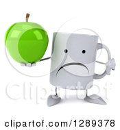 Clipart Of A 3d Unhappy Coffee Mug Holding A Green Apple And A Thumb Down Royalty Free Illustration