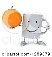Clipart Of A 3d Happy Coffee Mug Holding An Orange And A Thumb Up Royalty Free Illustration
