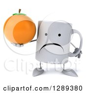 Clipart Of A 3d Unhappy Coffee Mug Holding An Orange Royalty Free Illustration