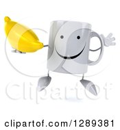 Clipart Of A 3d Happy Coffee Mug Holding A Banana And Jumping Royalty Free Illustration