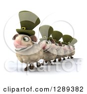 Clipart Of A 3d Line Of Happy Irish Sheep Royalty Free Illustration