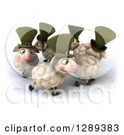 Clipart Of A 3d Circle Of Happy Irish Sheep Royalty Free Illustration