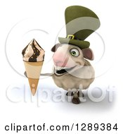 Clipart Of A 3d Irish Sheep Holding Up A Waffle Ice Cream Cone Royalty Free Illustration
