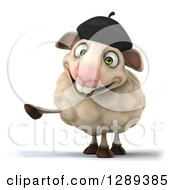 Clipart Of A 3d French Sheep Pointing To The Left Royalty Free Illustration