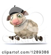 Clipart Of A 3d French Sheep Running To The Left Royalty Free Illustration