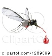 Clipart Of A 3d Mosquito Wearing Sunglasses And Flying To The Right With A Blood Drop Royalty Free Illustration