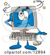 Clipart Picture Of A Desktop Computer Mascot Cartoon Character Confused And Seeing Stars by Toons4Biz #COLLC12894-0015