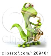 Clipart Of A 3d Green Gecko Facing Slightly Left And Playing A Saxophone Royalty Free Illustration