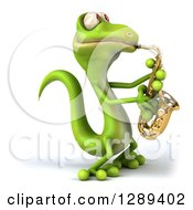 Clipart Of A 3d Green Gecko Facing Left And Playing A Saxophone Royalty Free Illustration by Julos