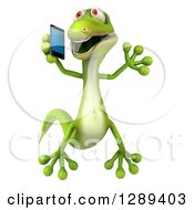 Clipart Of A 3d Green Gecko Lizard Jumping And Talking On A Smart Cell Phone Royalty Free Illustration by Julos