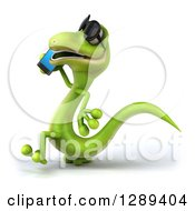 Clipart Of A 3d Green Gecko Lizard Wearing Sunglasses Walking To The Left And Talking On A Smart Cell Phone Royalty Free Illustration by Julos