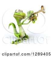 Clipart Of A 3d Green Gecko Facing Slightly Left And Playing A Trumpet Royalty Free Illustration by Julos