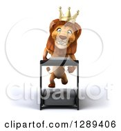 Clipart Of A 3d Male Lion King Running On A Treadmill Royalty Free Illustration