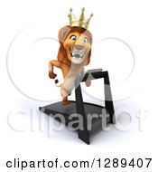 Clipart Of A 3d Male Lion King Running On A Treadmill 2 Royalty Free Illustration