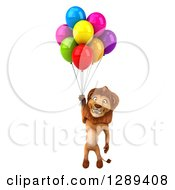 Clipart Of A 3d Male Lion Floating With Party Balloons Royalty Free Illustration