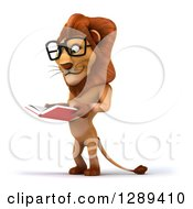 Clipart Of A 3d Bespectacled Male Lion Facing Left And Reading A Book Royalty Free Illustration