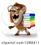 Clipart Of A 3d Bespectacled Male Lion Roaring And Holding A Stack Of Books Royalty Free Illustration