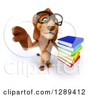 Clipart Of A 3d Bespectacled Male Lion Holding Up A Thumb Down And A Stack Of Books Royalty Free Illustration