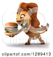 Clipart Of A 3d Male Lion Roaring Facing Left And Holding A Double Cheeseburger Royalty Free Illustration