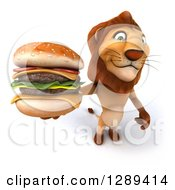 Clipart Of A 3d Male Lion Roaring Holding Up A Double Cheeseburger Royalty Free Illustration