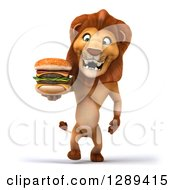 Clipart Of A 3d Male Lion Roaring Walking With A Double Cheeseburger Royalty Free Illustration
