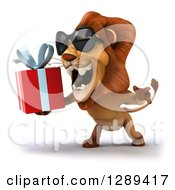 Clipart Of A 3d Male Lion Wearing Sunglasses Facing Left And Roaring At A Gift Royalty Free Illustration