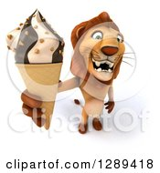 Clipart Of A 3d Male Lion Holding Up A Waffle Ice Cream Cone Royalty Free Illustration